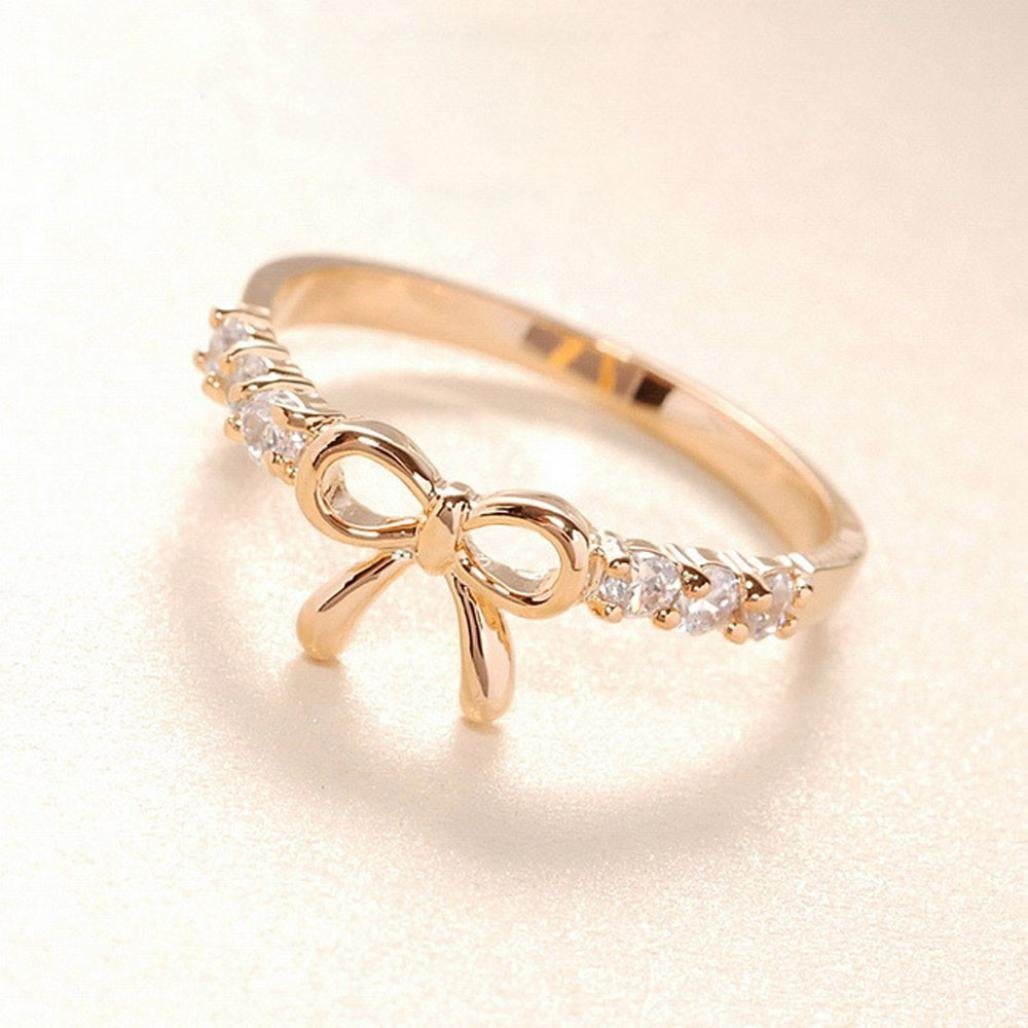 Jewelry Ring,Hemlock Women Girl's Simple Crystal Bow Ring (Gold)