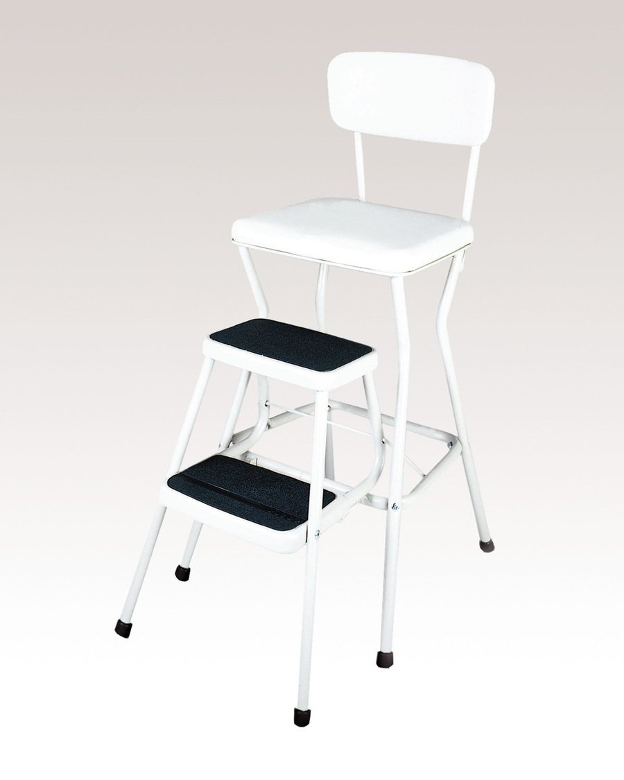 Get Quotations · COSCO 11118WHTE White Retro Counter Chair/Step Stool With  Pull Out Steps, Counter