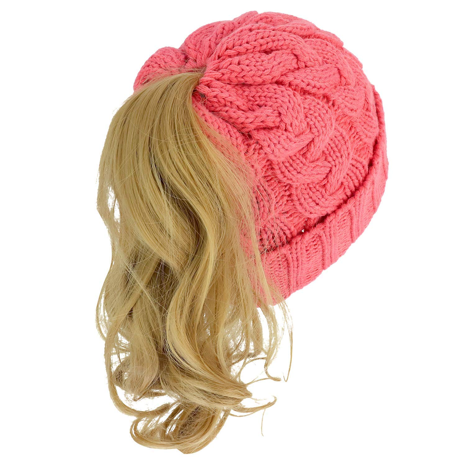 edd5b6ead75d2 Get Quotations · Armycrew Cable Knit Messy Bun Hair Winter Ponytail Beanie  Cap