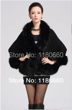 New elegant cashmere shawl imitation fox fur cape coat jacket women women leather jacket fur leather