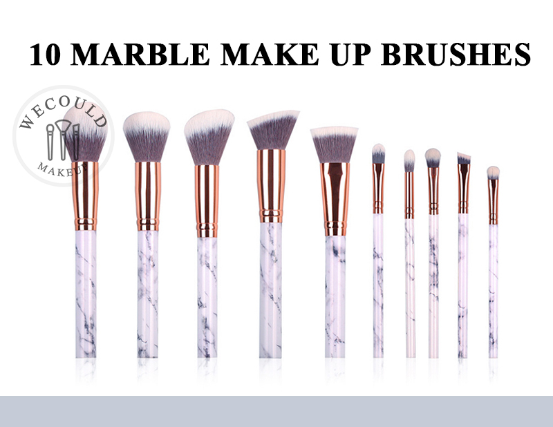2018 Hot New Design 10PCS Marble Handle Private Label Makeup Brush SET With Customized Bag
