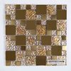 Glossy Textured Gold Foil Glass Mixed Metal Mosaic Kitchen Cheap Glass Brick