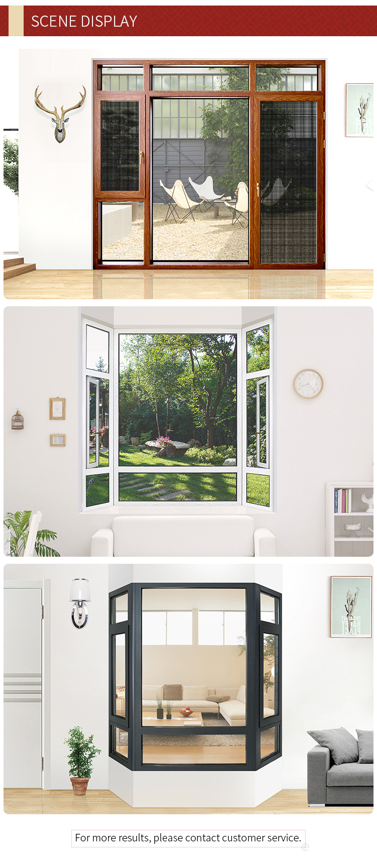 new design living room aluminum frame tempered exterior glass windows