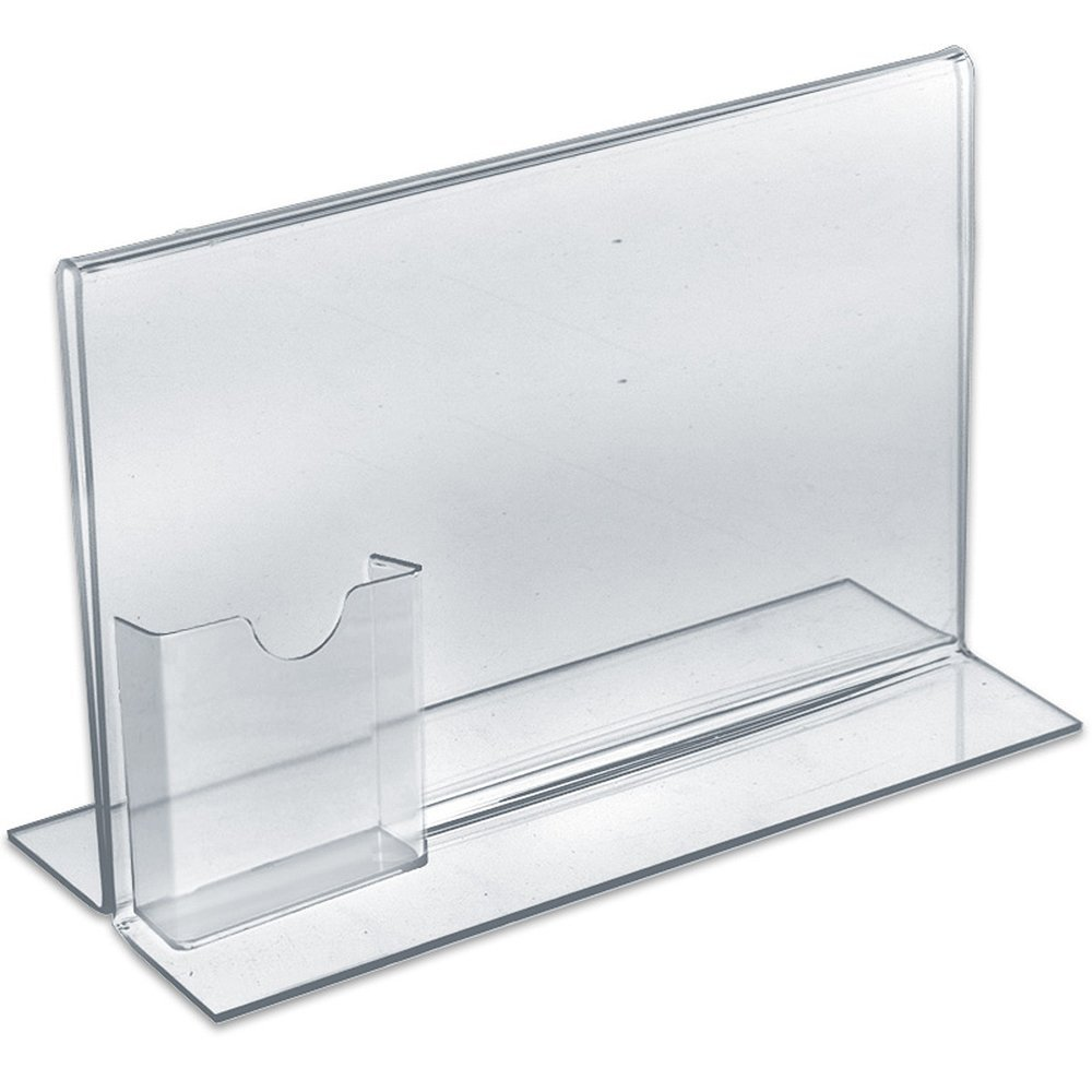 Acrylic Horizontal Double Sided, Stand Up Acrylic Sign Holder with Attached Brochure Holder