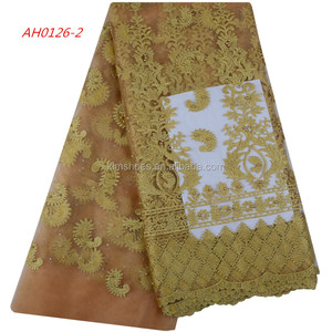 Gold Bead French Lace Fabric Cotton Fringe Trim Bridal Corded Lace 1083