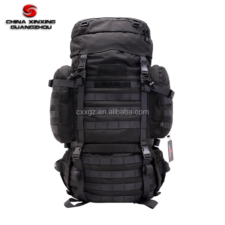 90L Big Size Molle Black Military Camping backpack with heavy duty straps