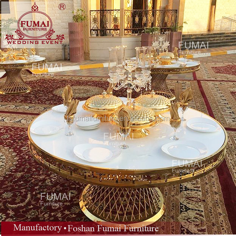 8 seater golden metal frame stainless steel dining tables round