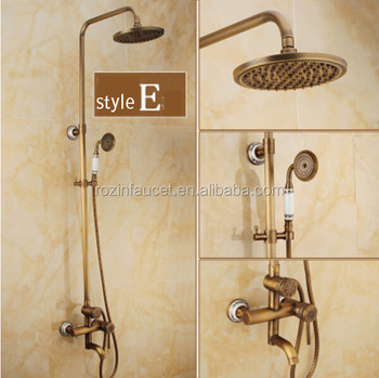 Antique Brass Adjust Height Bathroom Shower Faucet Mixer Tap Single