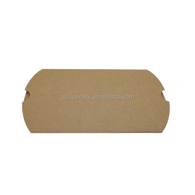 100% recycled folding kraft pillow shaped paper box