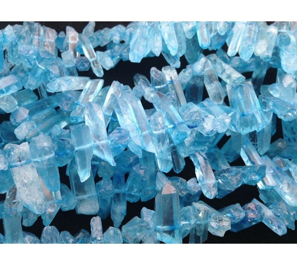 Small Chandelier Earrings in Teal Blue Crystal
