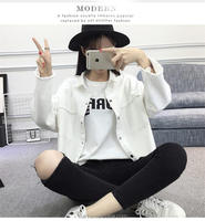 2017 Spring Autumn White Denim Jacket Women Basic Coats Printed Long Sleeve Casual Loose Woman Jeans Jackets Plus Size O nzwt-89