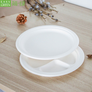 Easy Green eco friendly biodegradable 9inch disposable sugarcane bagasse paper pulp plates for party