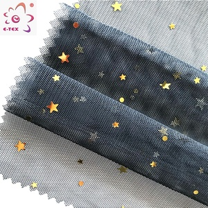 New fashion polyester cooling breathable gold foil printing mesh fabric for clothing