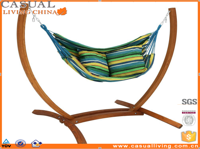 Indoor Outdoor Hanging Hammock Chair Swing with Sturdy Space Saving Wooden Stand