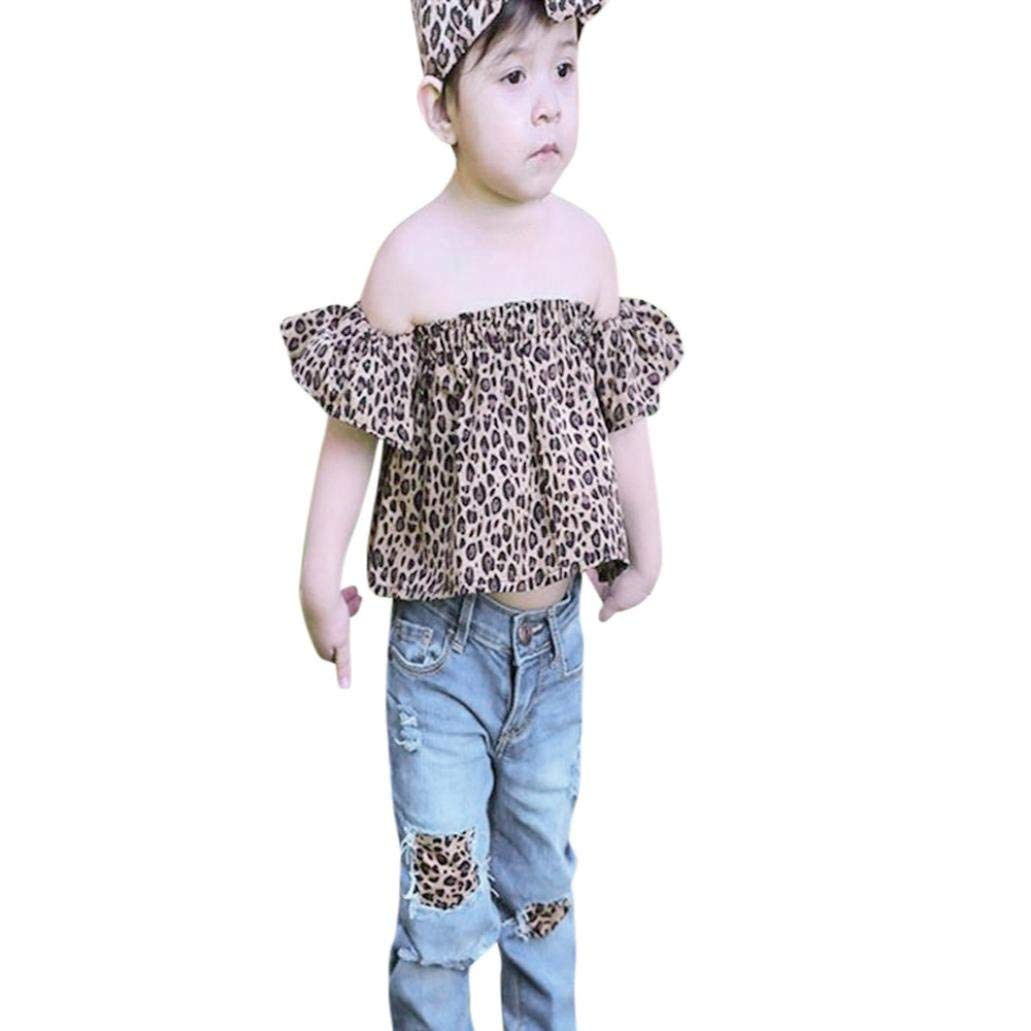 0d5377ac832b6 Get Quotations · Efaster Baby Girl Outfits Leopard Off Shoulder Tops+Hole  Jeans+Headband Clothes