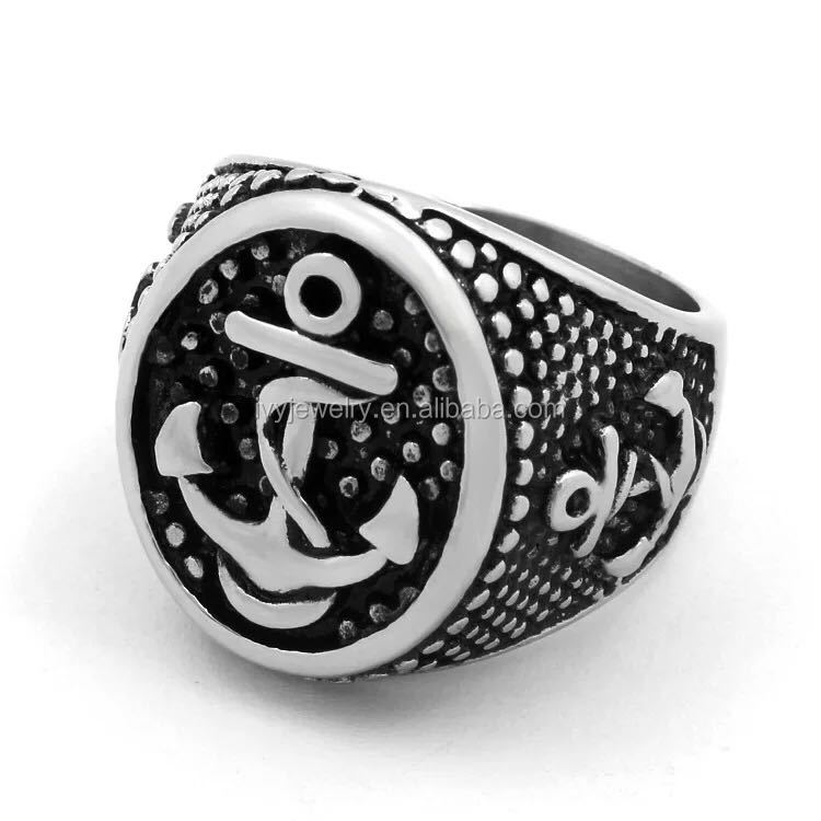 IJZ6880902 Nautical Navy Anchor Christian Ring