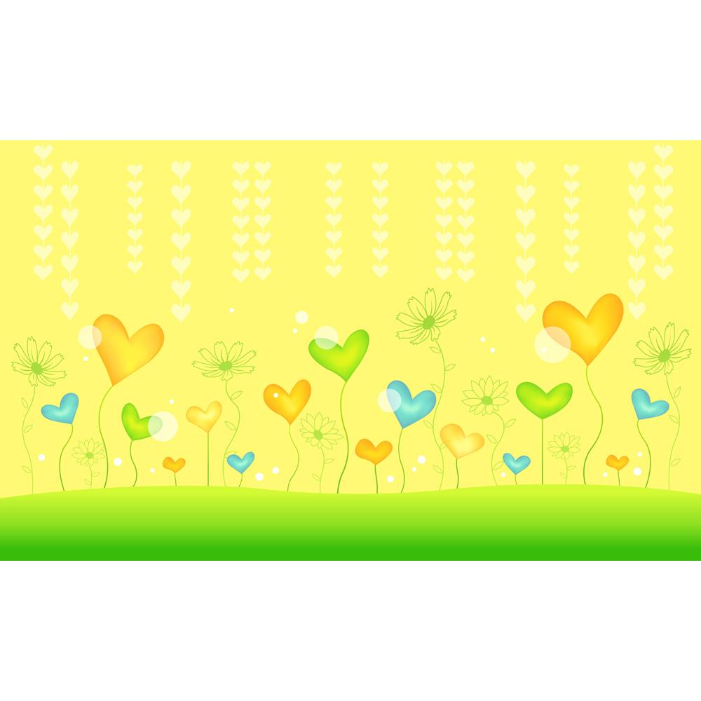 美しい花とハートデザイン壁紙壁画防水イエロー グリーンスタイルpvc
