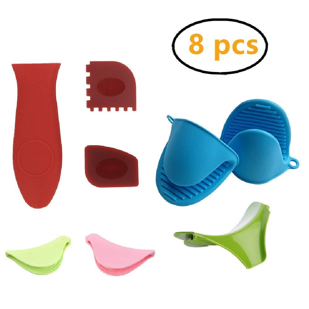 2 Piece Silicone Heat Resistant Cooking Pinch Mitts+ 2 Piece Pan Scrapers+ 2 Piece Cooking Pinch Grips + Silicone Hot Handle Holders+ Silica Gel Diversion Mouths