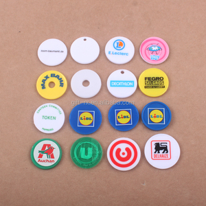 2017 BSCI SGS Cheap eco friendly Custom plastic trolley token coin