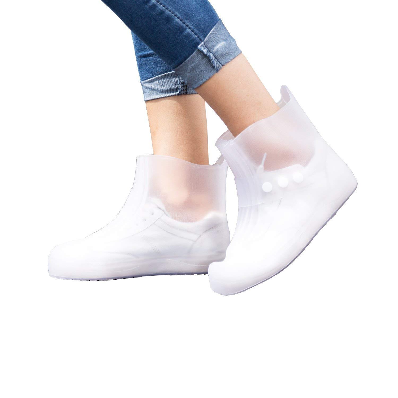 Heng Rui Waterproof Rain Shoe Covers | Reusable | Protective Rubber Overshoes | Men Women Kids | Slip Resistant Rain Shoe Covers for Cycling, Outdoor, Camping, Fishing, Garden (XL, Clear)