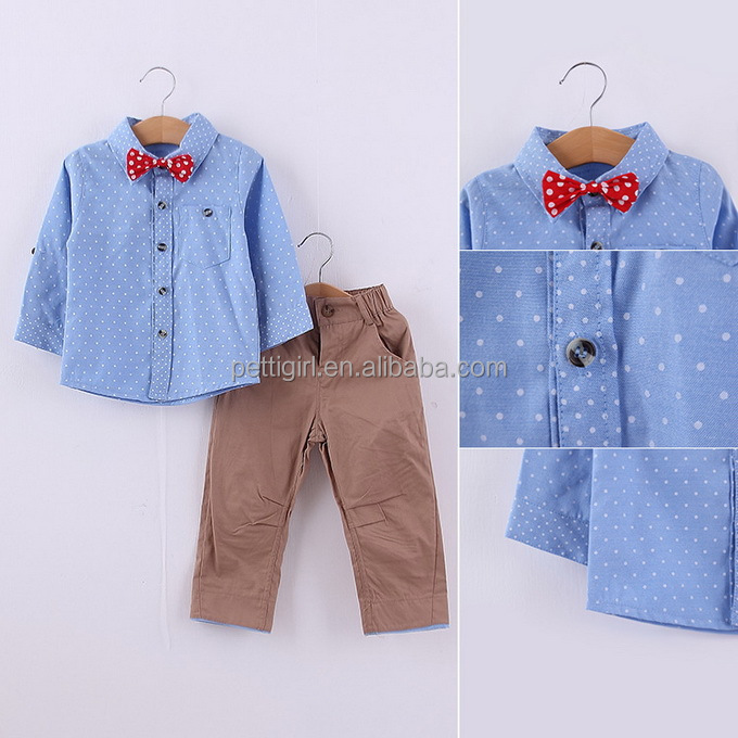 Gentleman Bodysuit Baby boy Long Sleeve Shirt+Bow tie+Pants clothes for children 0-6