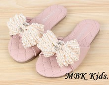 New Children Shoes Latest Girls Slippers Pearl Bowknot Pink Beige Rose Kids Shoes For Summer Slippers