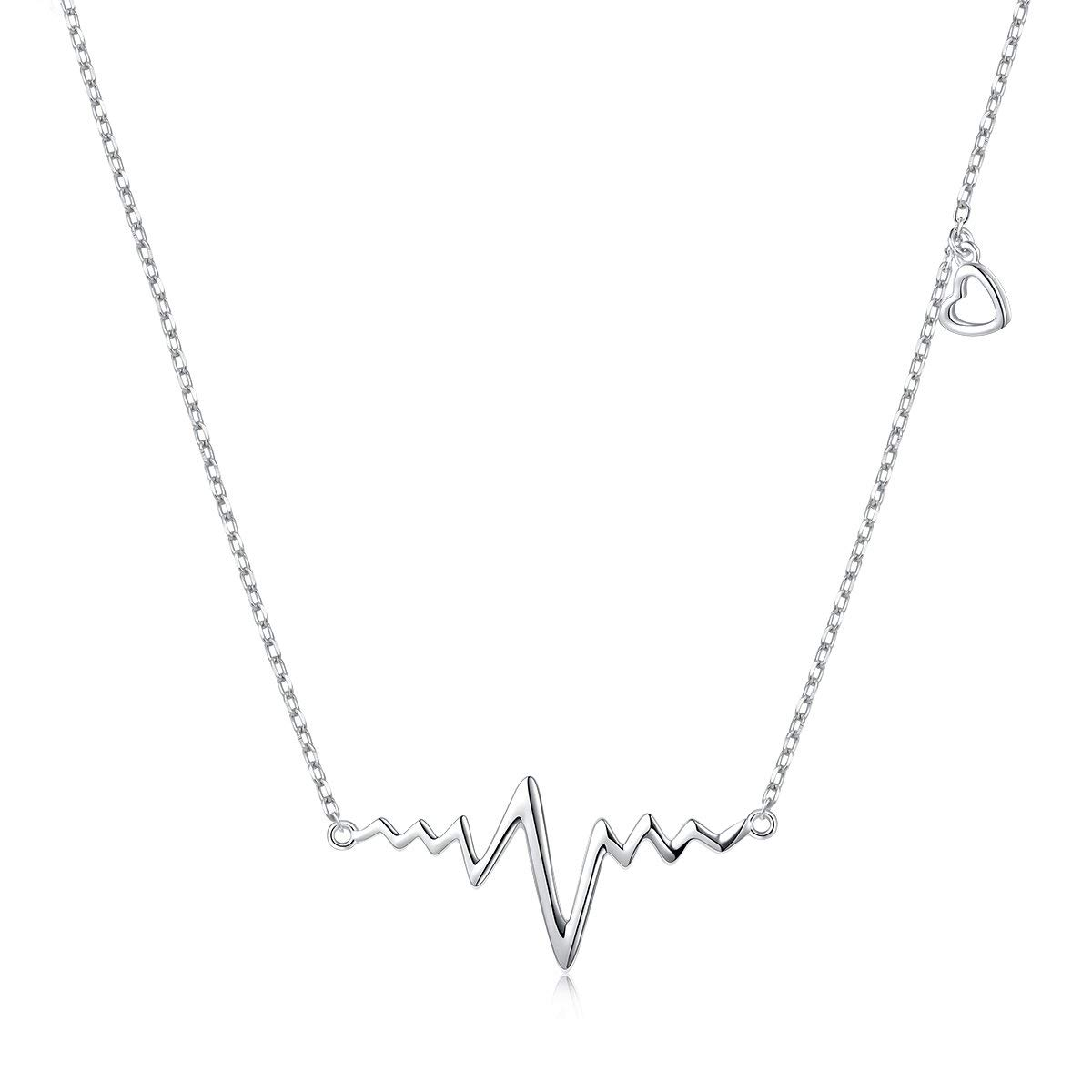 3c855c8bc Get Quotations · LINLIN FINE JEWELRY Heartbeat Necklace 925 Sterling Silver  Ekg Cute Life Line Heartbeat Love Cardiogram Necklace