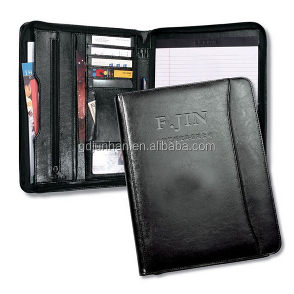 Leather embossed A4 zip compendium