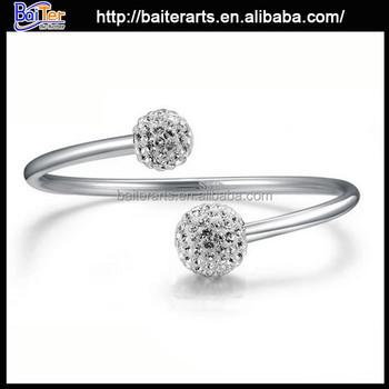 Korean Model Ing Two Round Women 925 Sterling Silver Bracelet Bangle