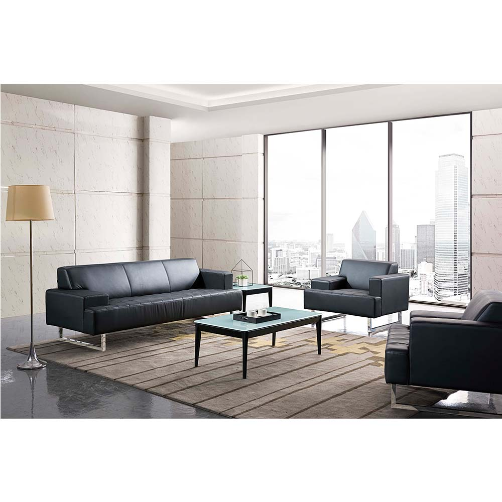modern executive sofa office reception sofa modern style leather black  walnut wood sofa set