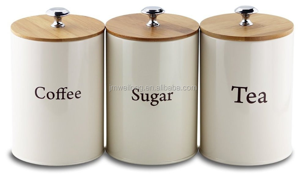 3 pcs metal storage canisters set with bamboo lid sugar coffee tea