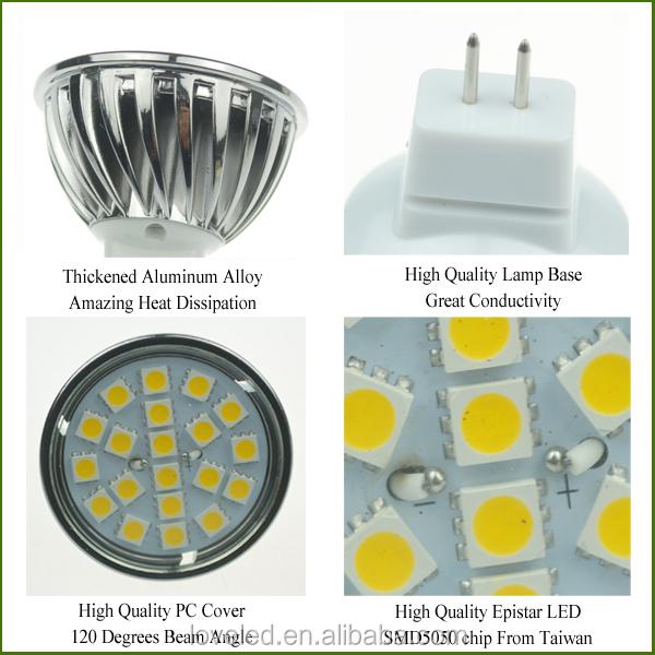 50mm Gu5.3 Base Led Spot Light 120 Degrees Soft White 2700k Dc 12v ...
