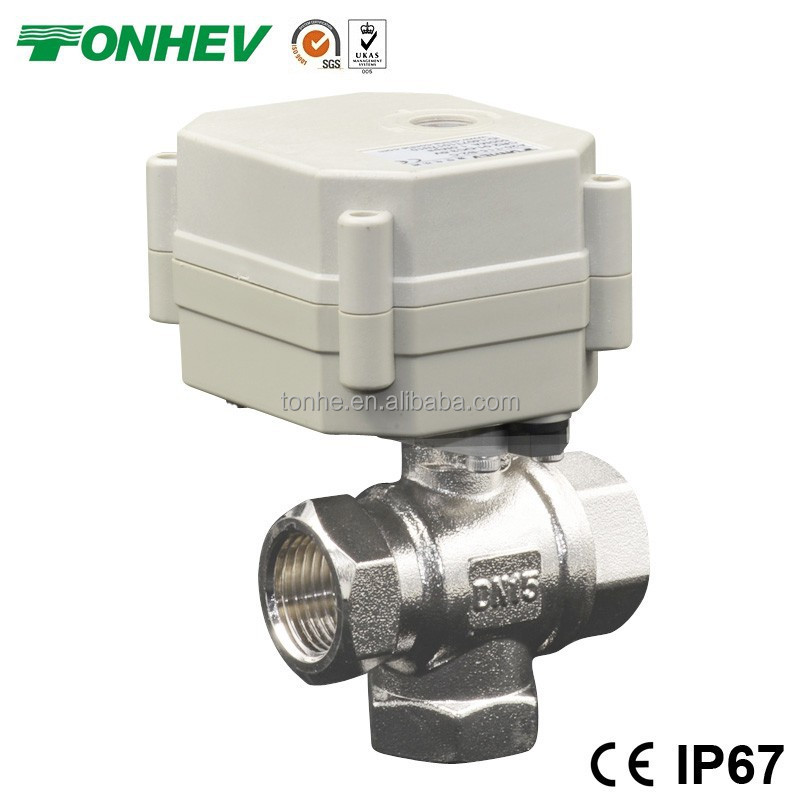 3 Way 1/2 inch Motorized Brass Ball valve 3 port diverter lead free valve (T15-N3-C)