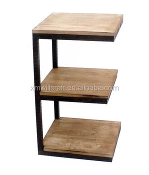 Metal Frame E Shape Table 3 Tiers Wooden Coffee Side