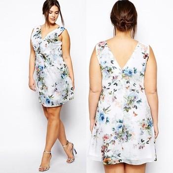 Floral Print Fat Women Clothes Plus Size Cocktail Dress Plus Size ...