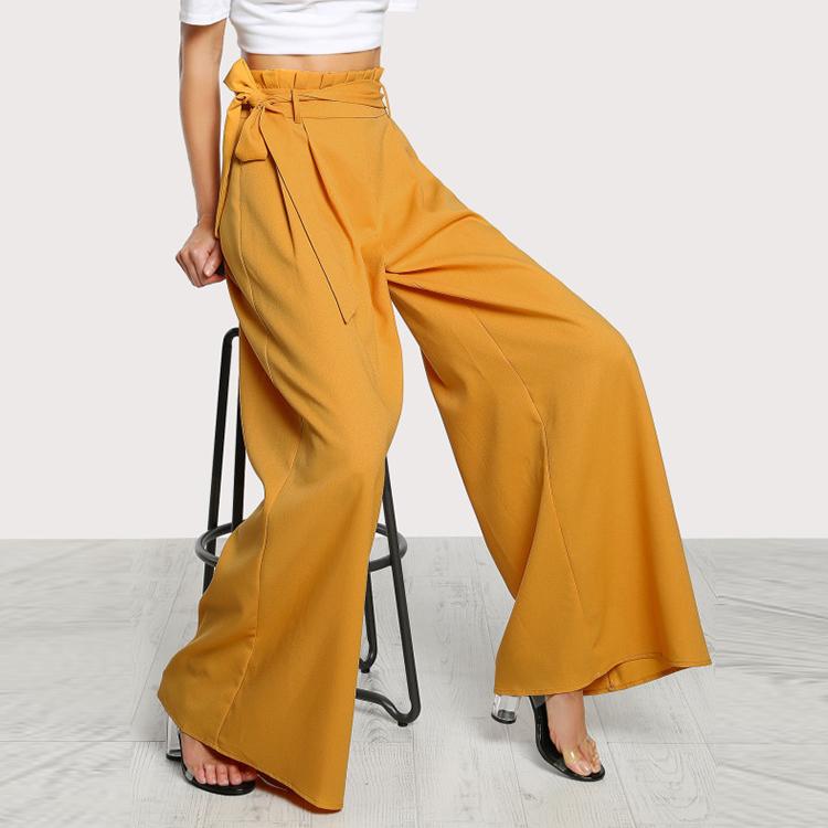 Pantalones Palazzo Con Cinturon Y Cintura Con Volantes Amarillos Para Mujer Buy Pantalones Palazzo Pantalones Amarillos Pantalones Anchos Product On Alibaba Com