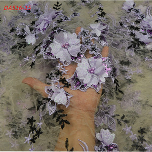 Latest French Laces 2017 Tulle Design 3d Flower Embroidery Beaded Net Lace Fabric 516-15