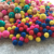 Multiple Colored Square and Round Shaped Wool Felt Ball Rug