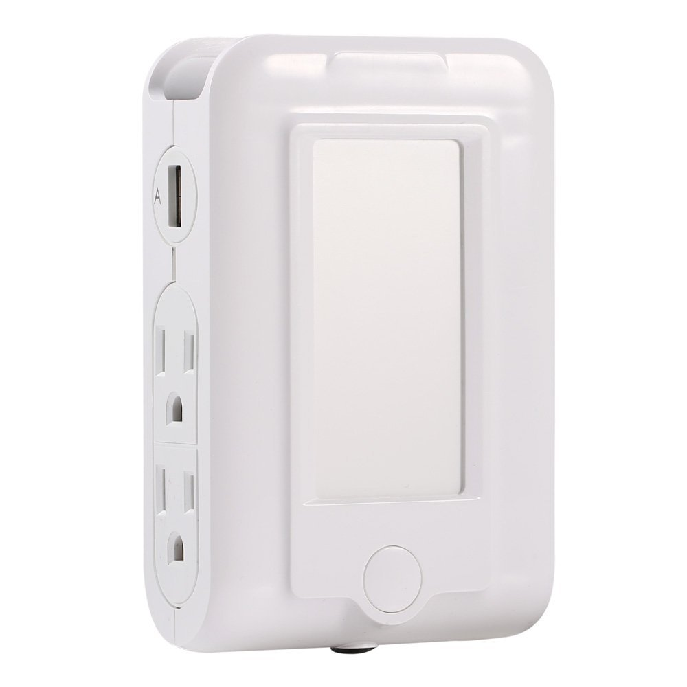 LED Night Light Plug in with 4 AC Outlets and 2 USB Ports, Dusk to Dawn Light Sensor, Nightlight with Switch Plate