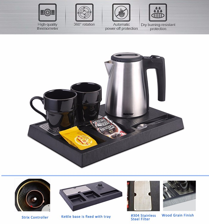 Honeyson hotel room silver 0.6L cordless electric tea kettle tray