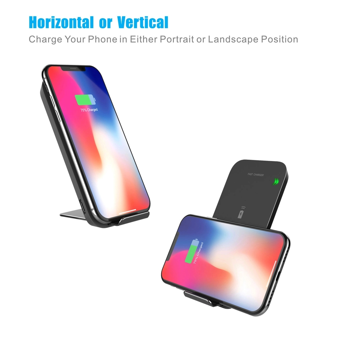 Dropshipping portable Wireless Charger Qi Certified 10W 15W Fast Wireless Charging Stand Compatible for iPhone for Samsung