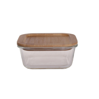 10oz 17oz 27oz food container products heated high borosilicate glass lunch box with eco friendly bamboo wooden lid bpa free
