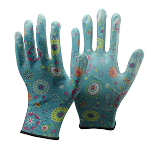 NMSAFETY 13 gauge Free shipping Hot sale Wholesale Retail flower pu work gloves size have S M L XL