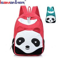 Cute cartoon panda canvas kids school backpack, trendy primary bag pack school