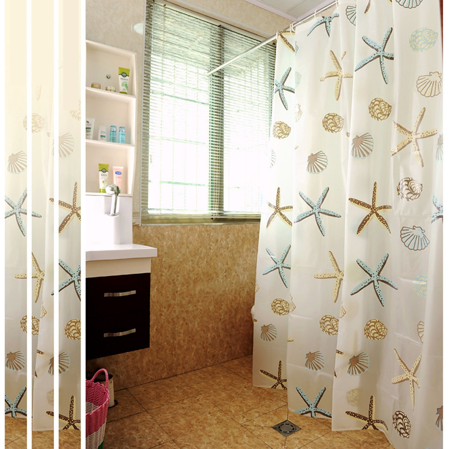 Get Quotations Bathroom Curtain Decorative PEVA Mold Mildew Free Water Repellent Shower With Hooks 70