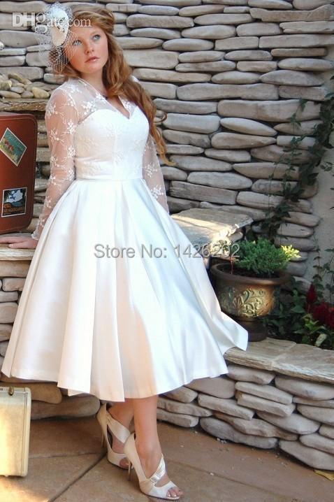 Tea Length Bridal Dresses Plus Size