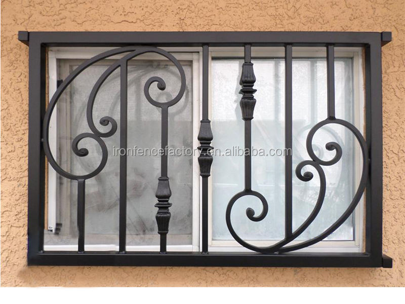 Ornamental wrought iron window grill design simple steel for Metal window designs