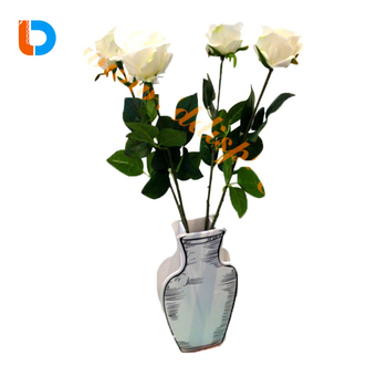 Unique Design Customized Flower Cardboard Tableware Decorative Paper Vases For Home Use Decoration