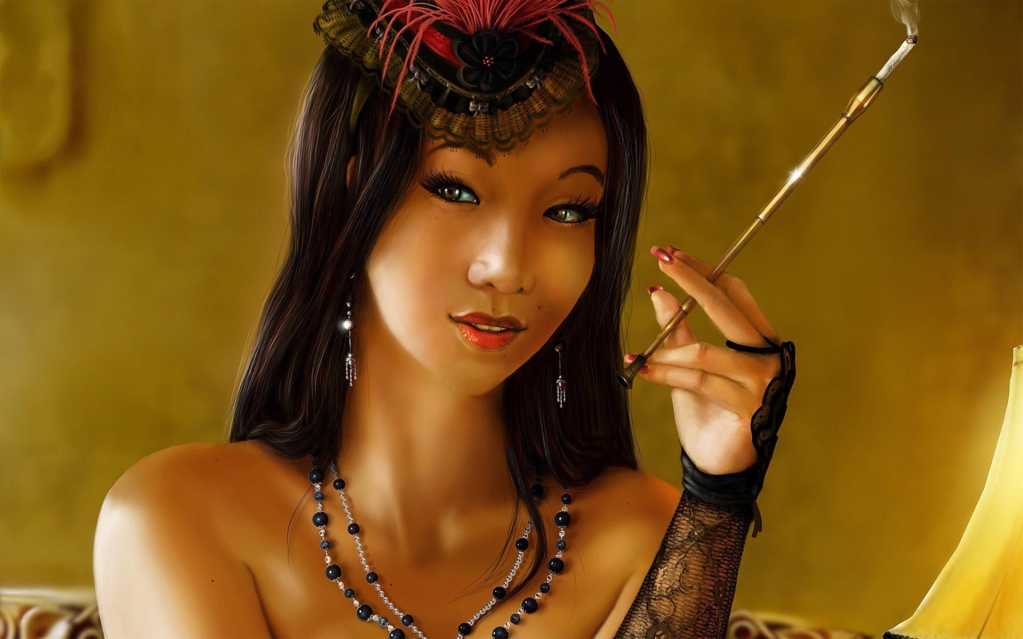 Living room <font><b>home</b></font> wall <font><b>decoration</b></font> fabric poster brunettes long hair <font><b>Asians</b></font> headbands cigarettes faces necklaces open mouth