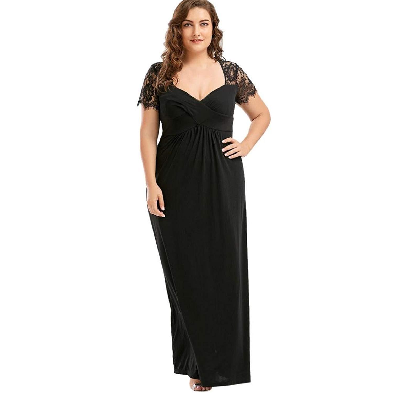 11cdf22c97c0 Get Quotations · Anxinke Women Plus Size Lace Short Sleeve V-Neck Empire  Waist Long Formal Dress